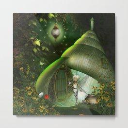 Little fairy  with bird Metal Print