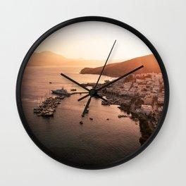 Milos port sunset - Cyclades Greece Wall Clock