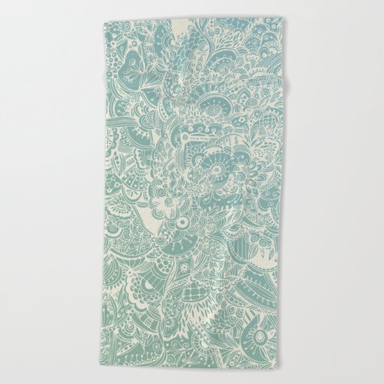 Detailed rectangle, light blue  Beach Towel