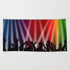 Dancing Crowd With Multi Colour and White Spotlights Beach Towel