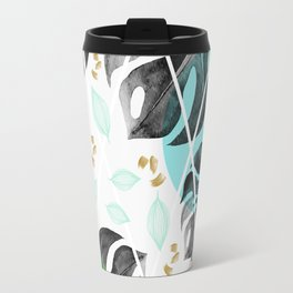 Monstera leaves watercolor Travel Mug