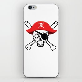 Pirate Skull and Crossbones with Red Hat and Eye Patch iPhone Skin