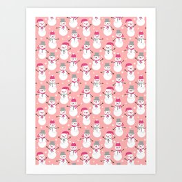Snowman pattern illustration by charlotte winter snowflakes mittens scarves Art Print
