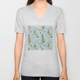 From Mice And Christmas - Cute teal X-Mas Pattern Unisex V-Neck