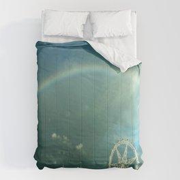 Rainbow over Melbourne Comforters