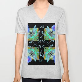 BLUE DRAGONFLIES MORNING GLORY BLACK ABSTRACT Unisex V-Neck