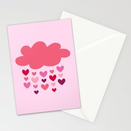 It's raining pink hearts art work Stationery Cards