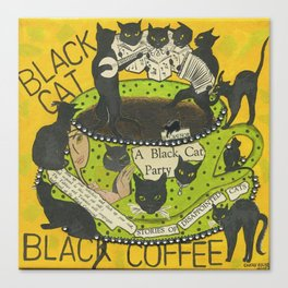 Black Cat Black Coffee Canvas Print