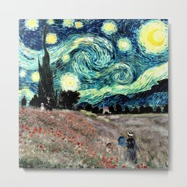 Monet's Poppies with Van Gogh's Starry Night Sky Metal Print