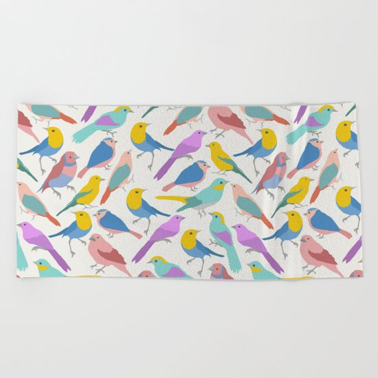Dazzling Colored Bird Pattern Beach Towel