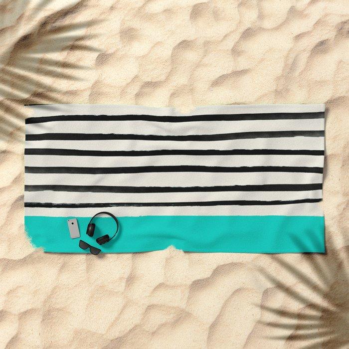 Aqua & Stripes Beach Towel