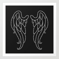 angel wings Art Prints featuring Angel Wings by Pink Berry Patterns