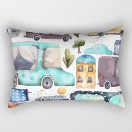 Watercolor town Rectangular Pillow