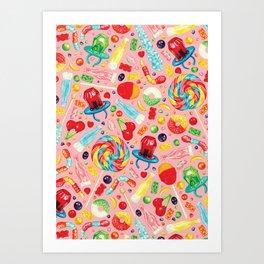 Candy Pattern - Pink Art Print