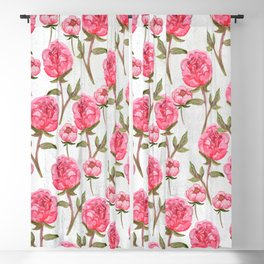 Pink Peonies On White Chalkboard Blackout Curtain