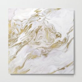 Liquid gold marble II Metal Print