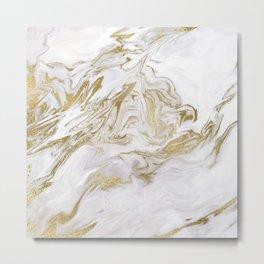 Liquid gold marble II Metal Print