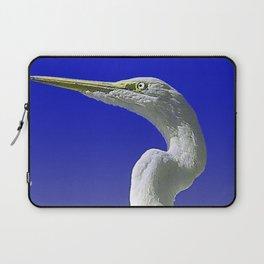 Regal White Egret On Blue Background Laptop Sleeve