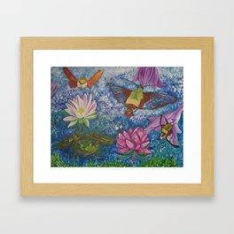 Hummingbird Moth and Frog Framed Art Print