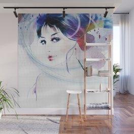 Watercolor Beautiful Girl V2 Wall Mural