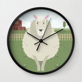 Sheep in a meadow Wall Clock