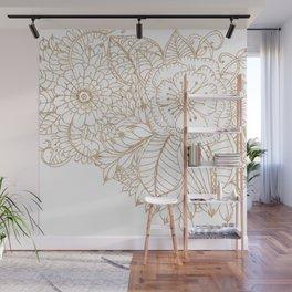 Elegant white faux gold glitter modern floral Wall Mural