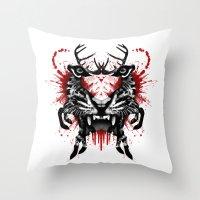 predator Throw Pillows featuring Predator by Enkel Dika