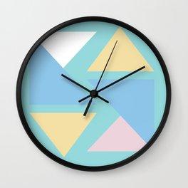 Triangle origami pastel pattern art Wall Clock