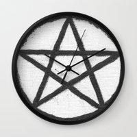 pentagram Wall Clocks featuring Pentagram - black & white by Ria-Ra