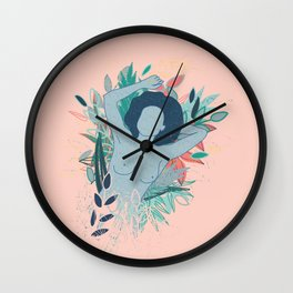 Blue nude laying down on flower field Wall Clock