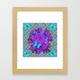 Shimmering Blue Butterflies  Purple Floral Art Framed Art Print