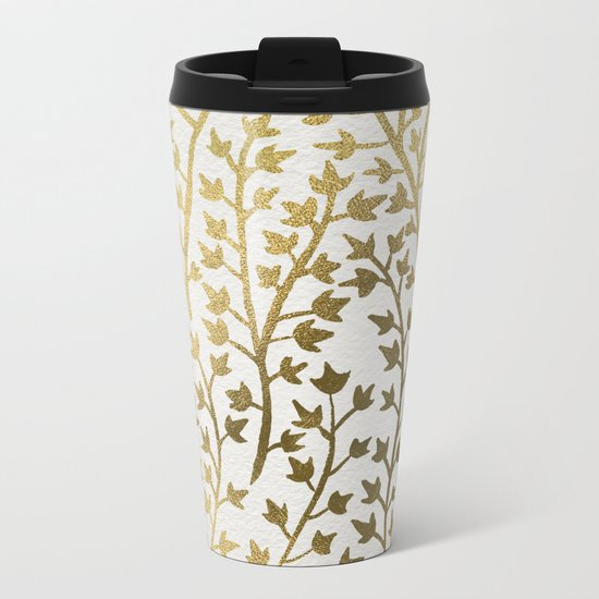 Gold Ivy Metal Travel Mug