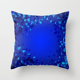 Sea explosive pattern of rhombuses and squares at the depth of the blue ocean. Throw Pillow