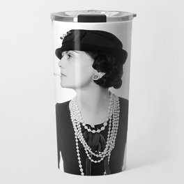 Fashion Icon, French Woman with Pearls, Black and White Art Travel Mug