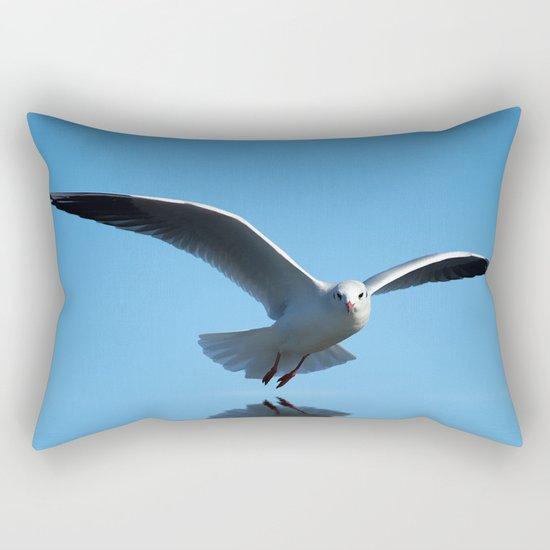 Seagull on blue sky Rectangular Pillow