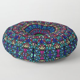 Colorful Church Window Mandala Floor Pillow