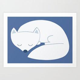 Sleeping white fox Art Print