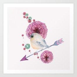 Cute Bird and Dandelion Art Print