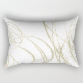Beige and Brown Minimalist Abstract Line Drawing 2 Rectangular Pillow