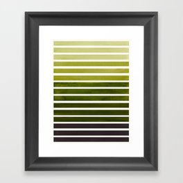 Watercolor Gouache Mid Century Modern Minimalist Colorful Olive Green Stripes Framed Art Print
