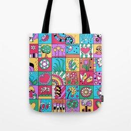 Inchie Doodle Design - Blue Red - Spring Tote Bag