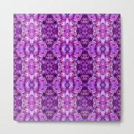 Violet Purple White Flower Pattern Metal Print