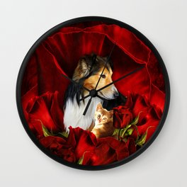 Furry Friends embedded in Roses Wall Clock