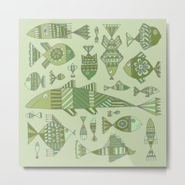 Funny fishes on green background Metal Print