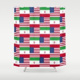 Mix of flag : Usa and Iran. Shower Curtain