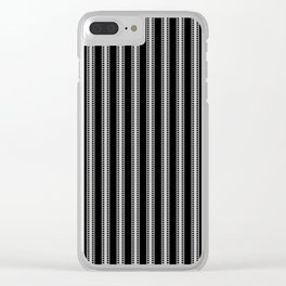 Black and White French Fleur de Lis in Mattress Ticking Stripe Clear iPhone Case