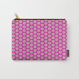 Hot Pink Plaid Mint Green Flower Carry-All Pouch