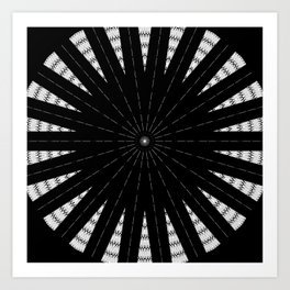 Black White mandala Design Art Print
