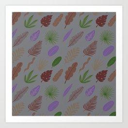 Modern abstract lavender green brown leaves pattern Art Print