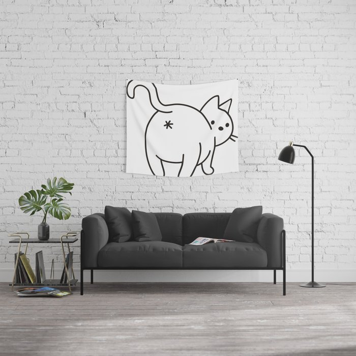Cat saying goodbye! Wall Tapestry